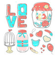 set of lettering elements for valentines day vector image