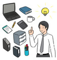 set office worker and office equipment vector image