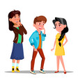 shy characters young boy and girl smiling vector image