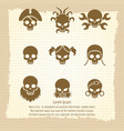 skull icons on vintage notebook page vector image vector image