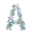 summer pattern hand drawn letter a palm leaves vector image