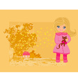 sweet girl in autumn park and her cat vector image