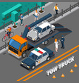 tow truck isometric composition vector image vector image