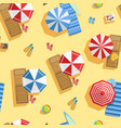 tropical beach with colorful umbrellas view from vector image