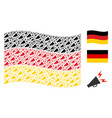 waving germany flag mosaic of alert megaphone vector image