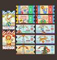 circus ticket pass doodle cartoon vector image
