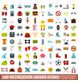 100 recreation award icons set flat style vector image vector image