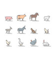 animals farm color thin line icon set vector image