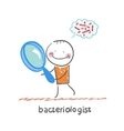 bacteriologist looks through a magnifying glass on vector image vector image