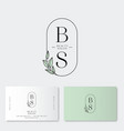 beauty salon logo identity b s monogram vector image