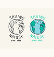 blue earth logo save nature vegetarian concept vector image vector image