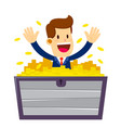 businessman inside a crate full gold coins vector image vector image