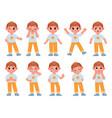 cartoon cute kid boy character expressions vector image vector image