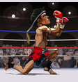 cartoon man fighter muay thai in the ring vector image vector image