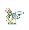 chef with tray with open lid isolate on white vector image
