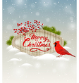 Christmas background with cardinal bird vector image vector image
