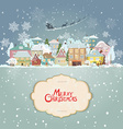christmas cityscape with vintage label for your vector image