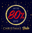 christmas sale up to 80 off star banner vector image vector image