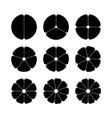 Circle segments set Black with rounded corners vector image vector image
