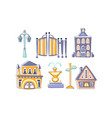city landscape elements set town residential vector image