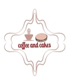 Coffee and cakes label logo vector image vector image