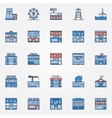 Colorful town building icons vector image vector image