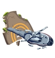 Crashed helicopter and tombstone vector image