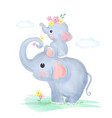 cute mommy and baelephant together vector image vector image