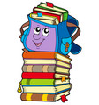 cute school bag on pile of books vector image