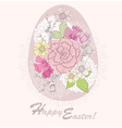 easter egg easter card with floral pattern vector image vector image
