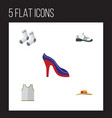 flat icon dress set of sneakers singlet foot vector image vector image