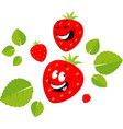 funny strawberry cartoon smiling - flat des vector image