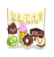 Funny sweet tasty dessert character set vector image
