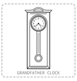 Grandfather clock vintage Flat linear object vector image vector image