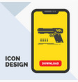 gun handgun pistol shooter weapon glyph icon in vector image