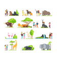 happy families kids with parents and wild zoo vector image vector image