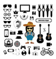 hipster style elements and icons set vector image