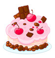 icon cartoon delicious sponge cake with chocolate vector image