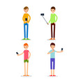 man selfie isolated friends do joint vector image vector image
