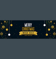 merry christmas mega sale golden banner template vector image vector image