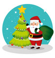 pine tree and santa claus with bag vector image vector image