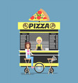 pizza stand with by it people vector image