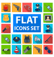 police department flat icons in set collection vector image vector image