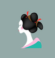 portrait young japanese girl an ancient hairstyle vector image