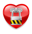 Red heart with lock vector image vector image