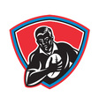 retro rugby shield vector image vector image