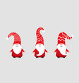 set cute christmas gnomes in funny hats vector image