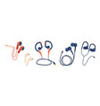 set earbuds for smartphone and electronic vector image