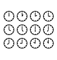 Set of clock faces simple black icons for every vector image vector image