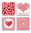 set of four backgrounds with red hearts vector image